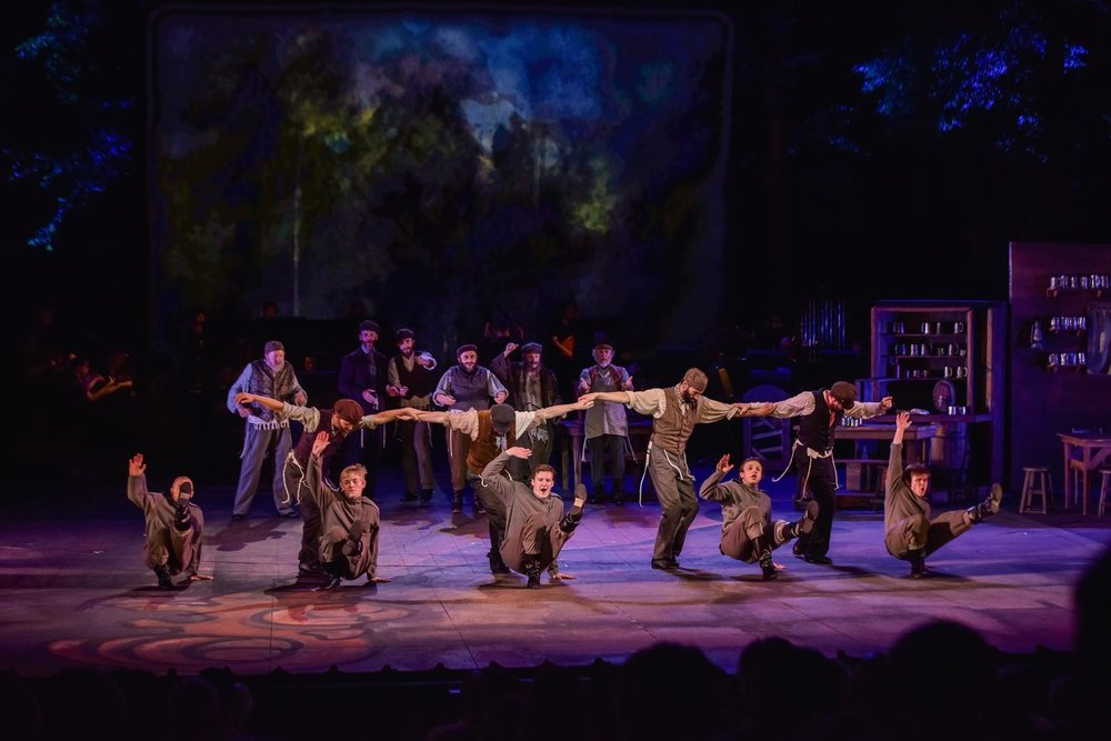 """Patrick (second from left) performing """"To Life"""" as a Russian in """"Fiddler on the Roof"""" at the MUNY in St. Louis."""