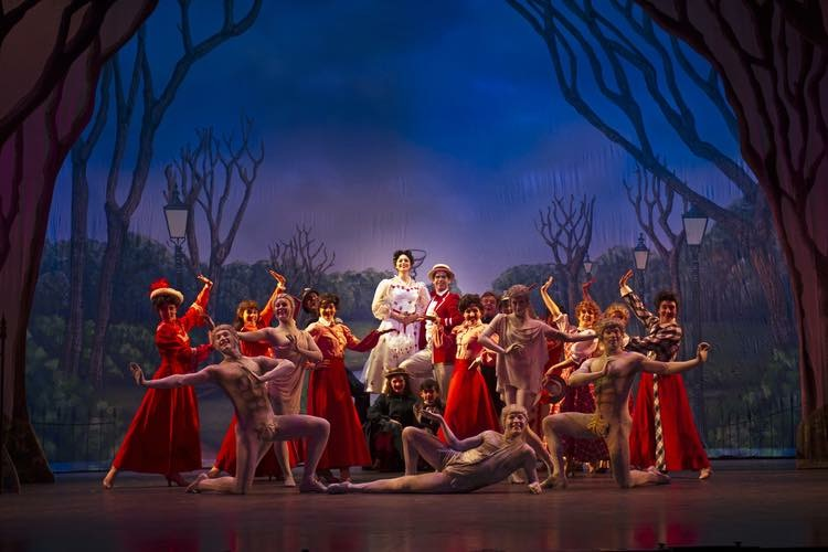 """Patrick (down center) performing as Neleus in """"Mary Poppins"""" at The Lexington Theatre Company."""