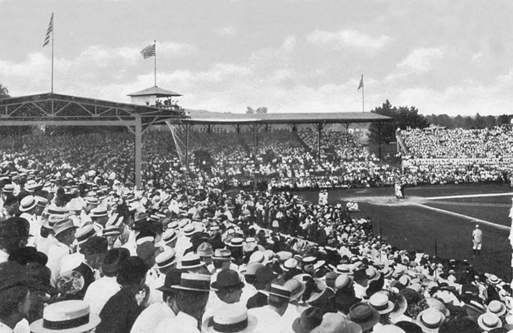 Birmingham baseball fans fill Rickwood Field, opening day, 18 August 1910. (Historic postcard, author's collection)