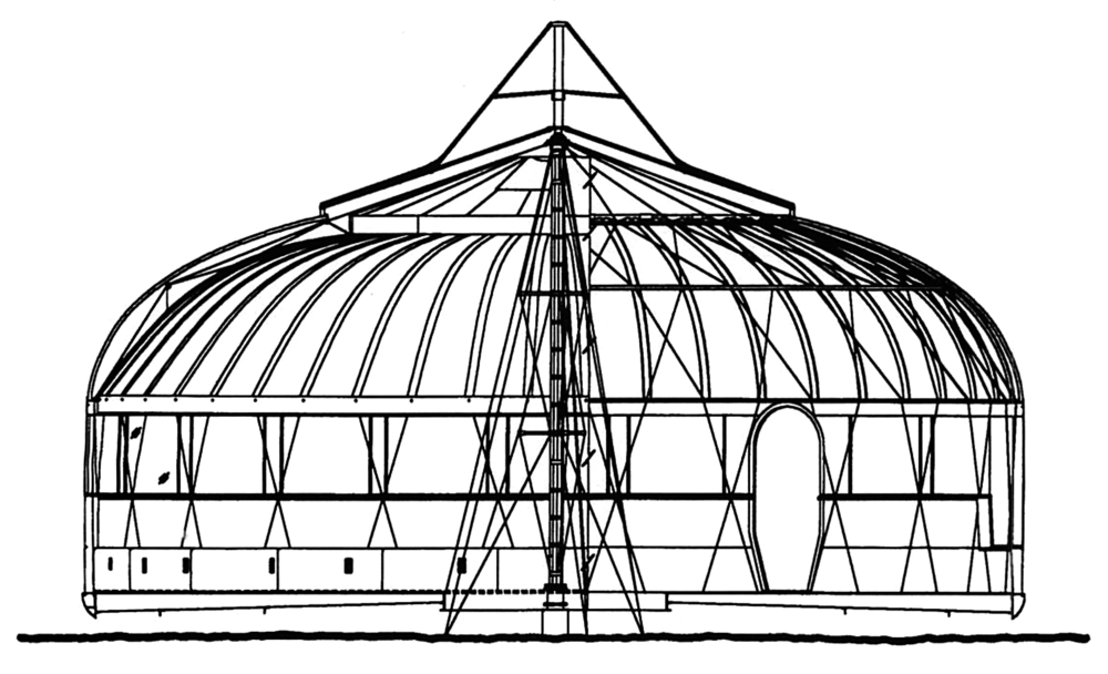Figure 1. A cross-section of the Dymaxion House illustrates the mast-hung double wire-wheel structure. Drawing courtesy of Henry Ford Museum & Greenfield Village.