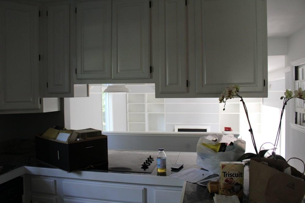 Kitchen + breakfast nook + tv area.