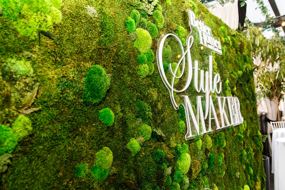 The insanely gorgeous moss wall at Stylemakers. Photo by David Keith.