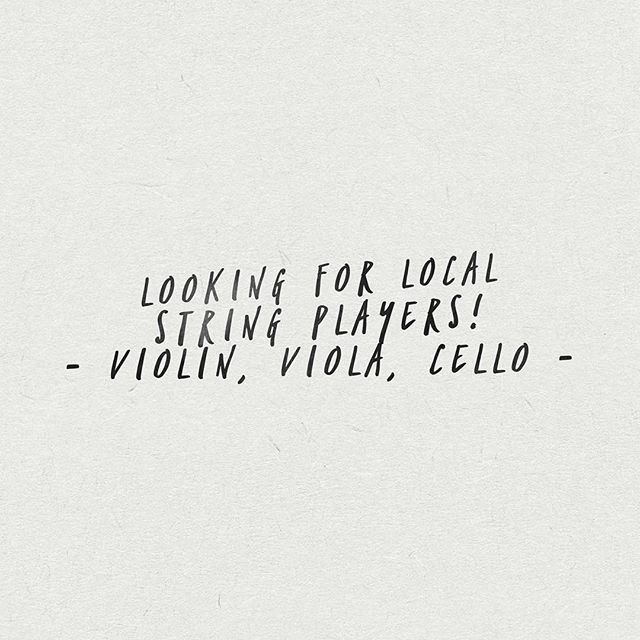 Hi! Looking for local string players to collaborate with on some session work. If you know anyone who plays, tag them - and if you happen to play, shoot me a message!