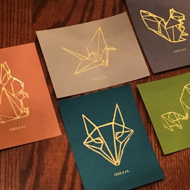 Origami Animals   // 5 Notecards // Gold Foil on Jewel Tones