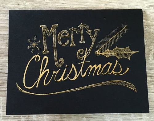 Merry Christmas   // Gold Foil on Black