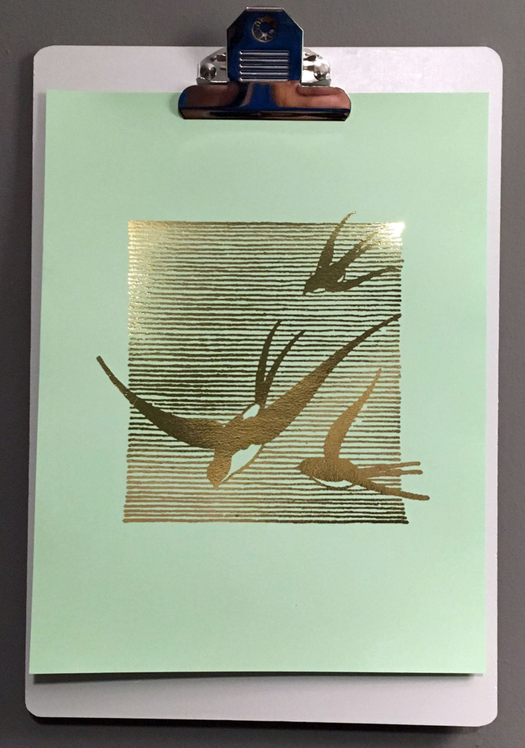 "Swallows   // 8.5"" x 11"" // Gold Foil on Mint"