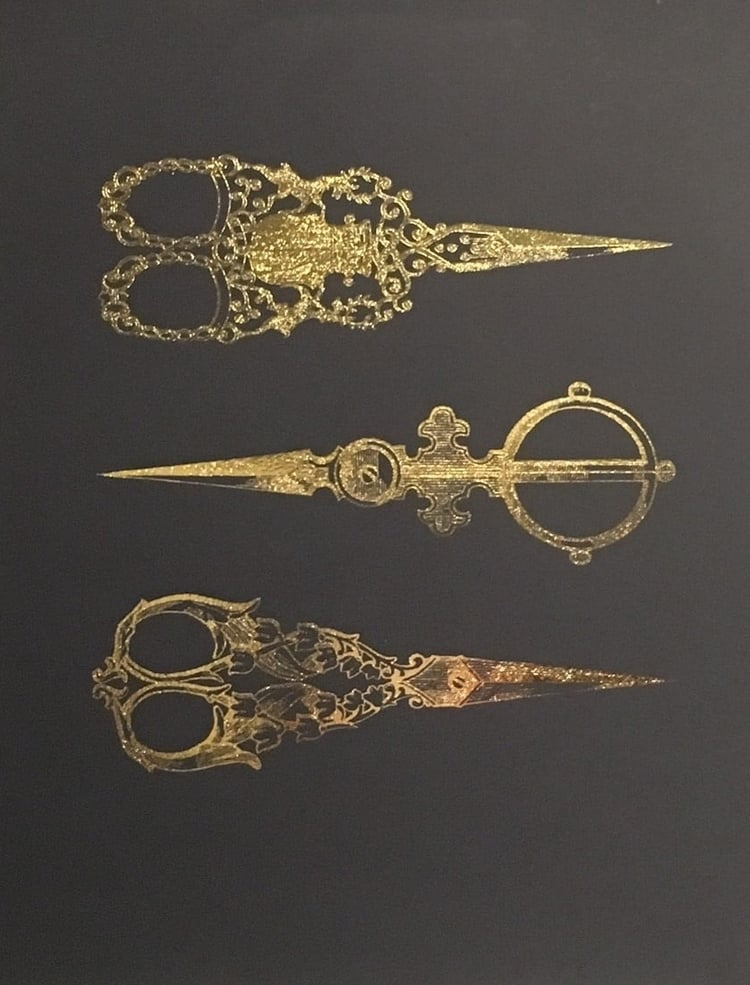 "Victorian Scissors   // 8.5"" x 11"" // Gold Foil on Black"