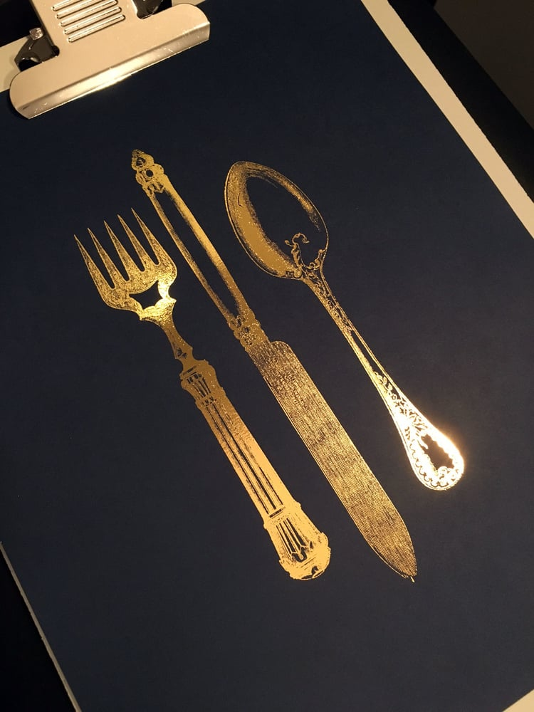 "Silverware   // 8.5"" x 11"" // Gold Foil on Black"