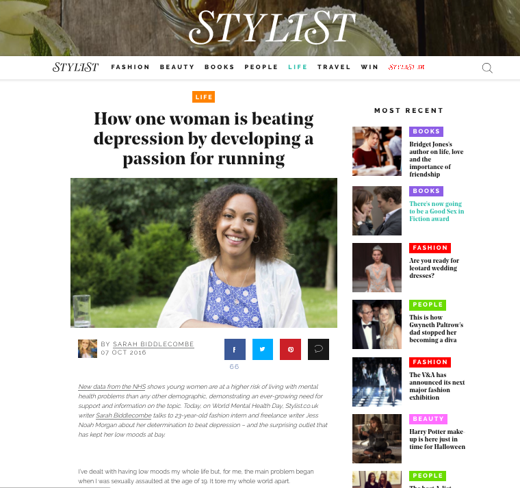 Stylist Magazine, 9th October 2016  How one woman is beating depression by developing a passion for running  Full article   here