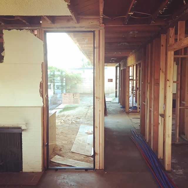#lettherebelight this dark and claustrophobic mid-century home is becoming a bright, airy and functional home through addition of a glazed hallway (and a long list of other updates)! . . . . . #mcmrenovation #psmodern #gutrenovation #lightfromtwodirections @milgardwindowsdoors @western_window_systems