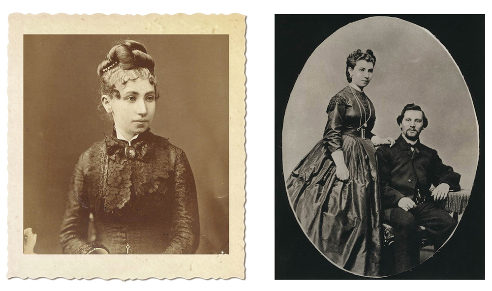 Julia Staab as a young bride (left) and Julia and Abraham Staab early in their marriage. Photos from family collection.