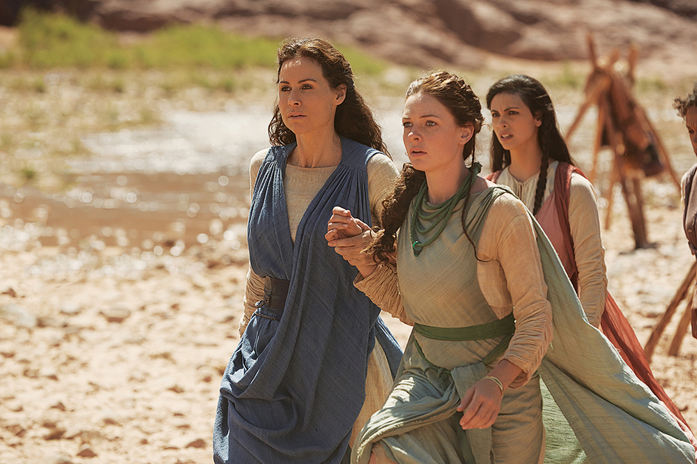 "From left, Minnie Driver (""Leah""), Rebecca Ferguson (""Dinah"") and Morena Baccarin (""Rachel"") star in the 2014 Lifetime miniseries, ""The Red Tent."" Photo ©2014 A&E Television Networks, LLC. All rights reserved. Photo: Joey L."