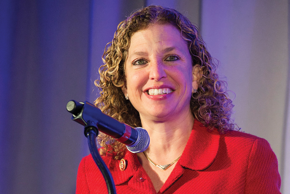 Congresswoman Debbie Wasserman Schultz addresses the audience at JWI's 2014 Women to Watch gala in Washington, D.C. (Photo by Michael Bennett Kress.)