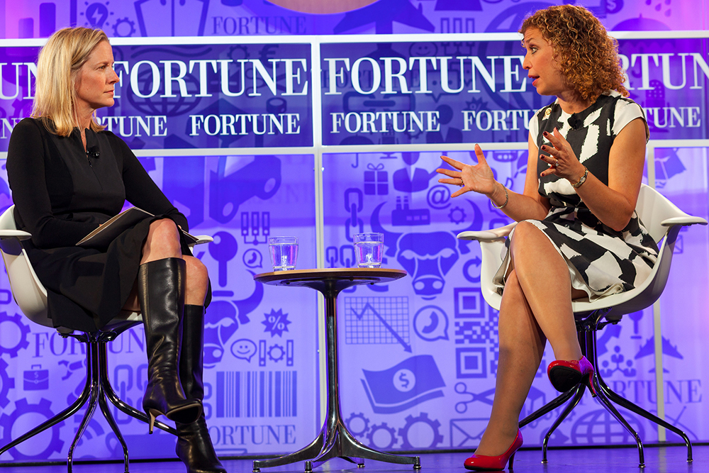 Debbie Wasserman Schultz is interviewed by Kristin van Ogtrop, managing editor of Real Simple, at the Fortune Most Powerful Women Summit in October 2013. Photo by Danuta Otfinowski, via  Fortune Live Media, via Flickr.