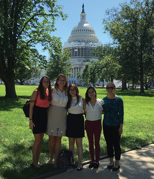 JWI's 2016 summer interns delivering the Interfaith Coalition's letter on Capitol Hill.