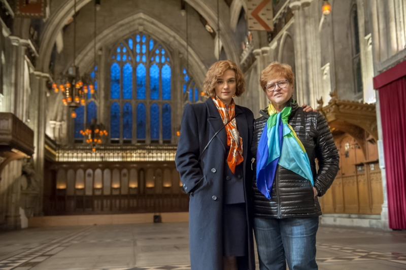 Photo by Liam Daniel / Bleecker Street (l to r) Actor Rachel Weisz and Author Deborah E. Lipstadt on the set of their film DENIAL, a Bleecker Street release.
