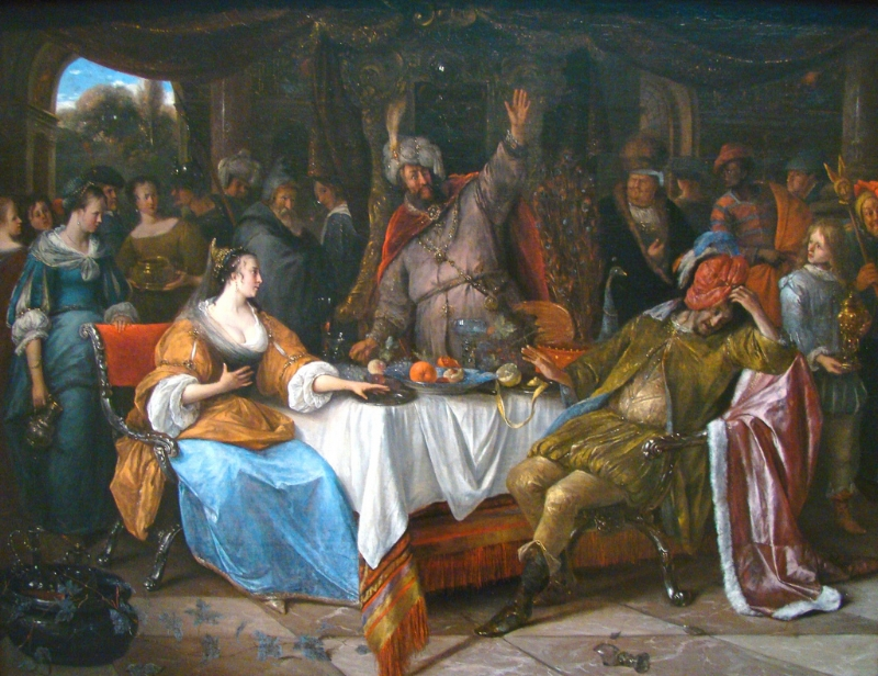 (Image courtesy of Glenn Marsch  via Flickr ) Steen, Jan (1668) Esther, Ahasuerus, and Haman