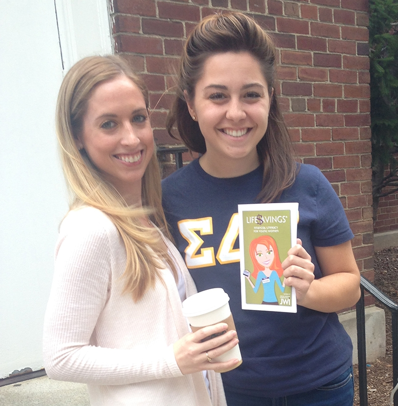 "SDT sisters at Stevens College pose for a pic with ""Penny,"" mascot of JWI's Life$avings® financial literacy program."