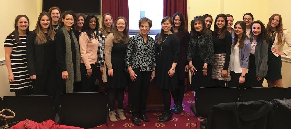 Members of JWI's Young Women's Leadership Network met with Congresswoman Jan Schakowsky in spring 2017.