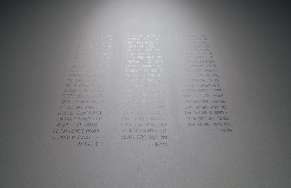 Wall text in artist typeface