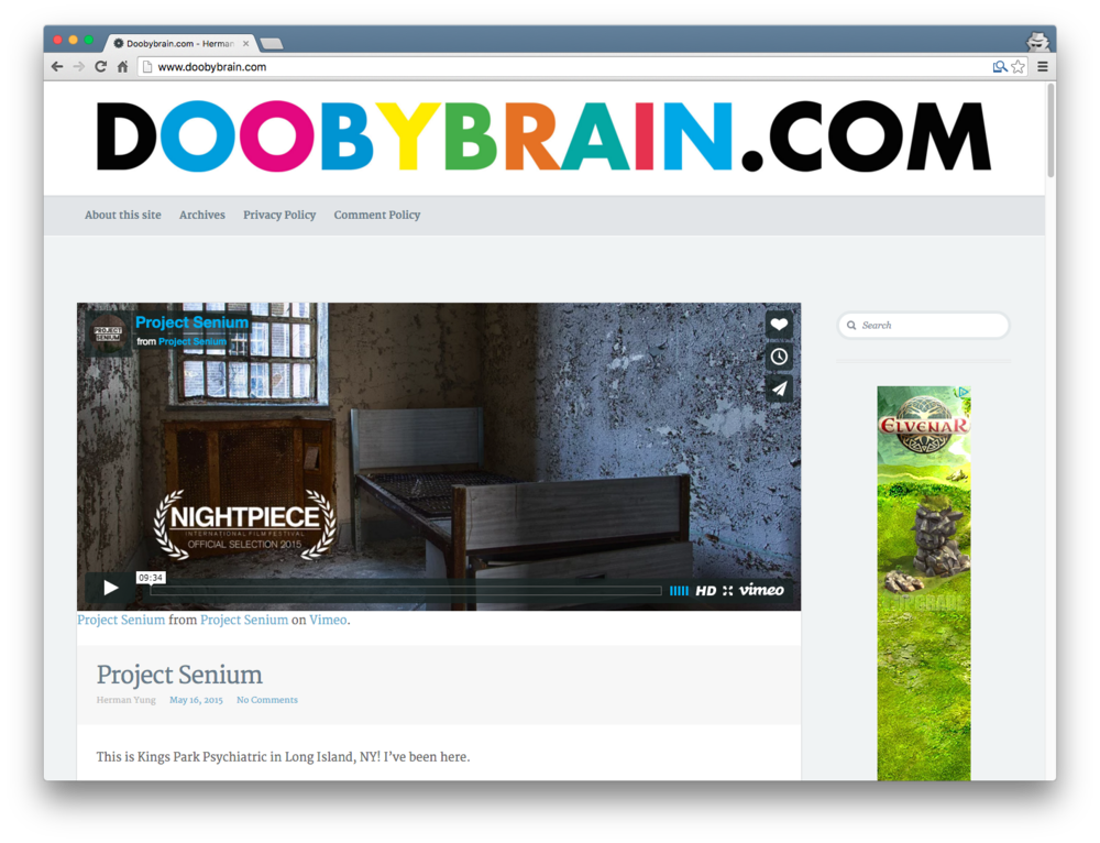 The final screenshot of the old Doobybrain.com