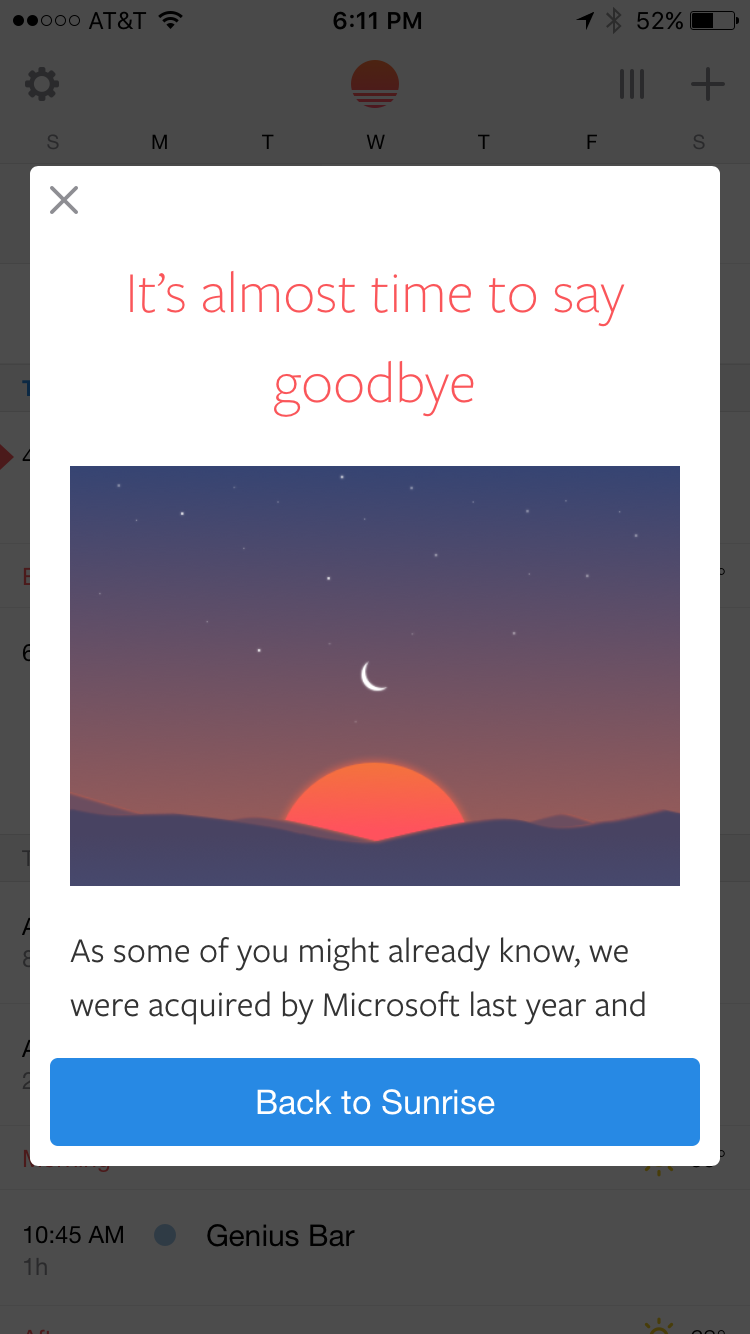 Microsoft will discontinue support for Sunrise calendar at