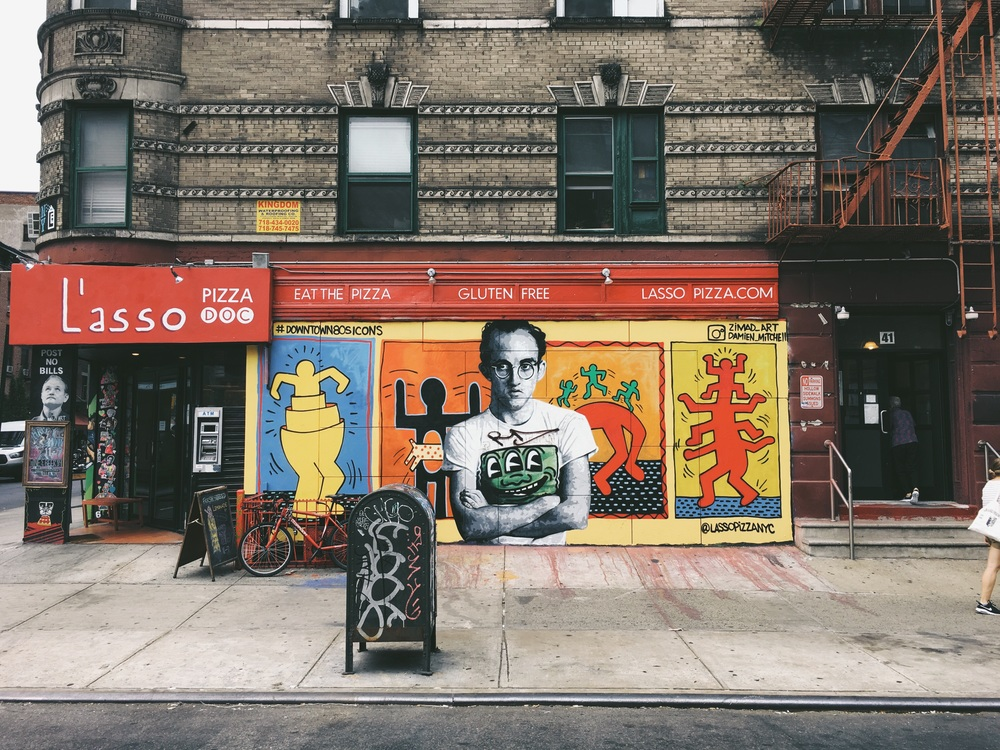 New keith haring mural at l 39 asso pizza for Mural on broome street
