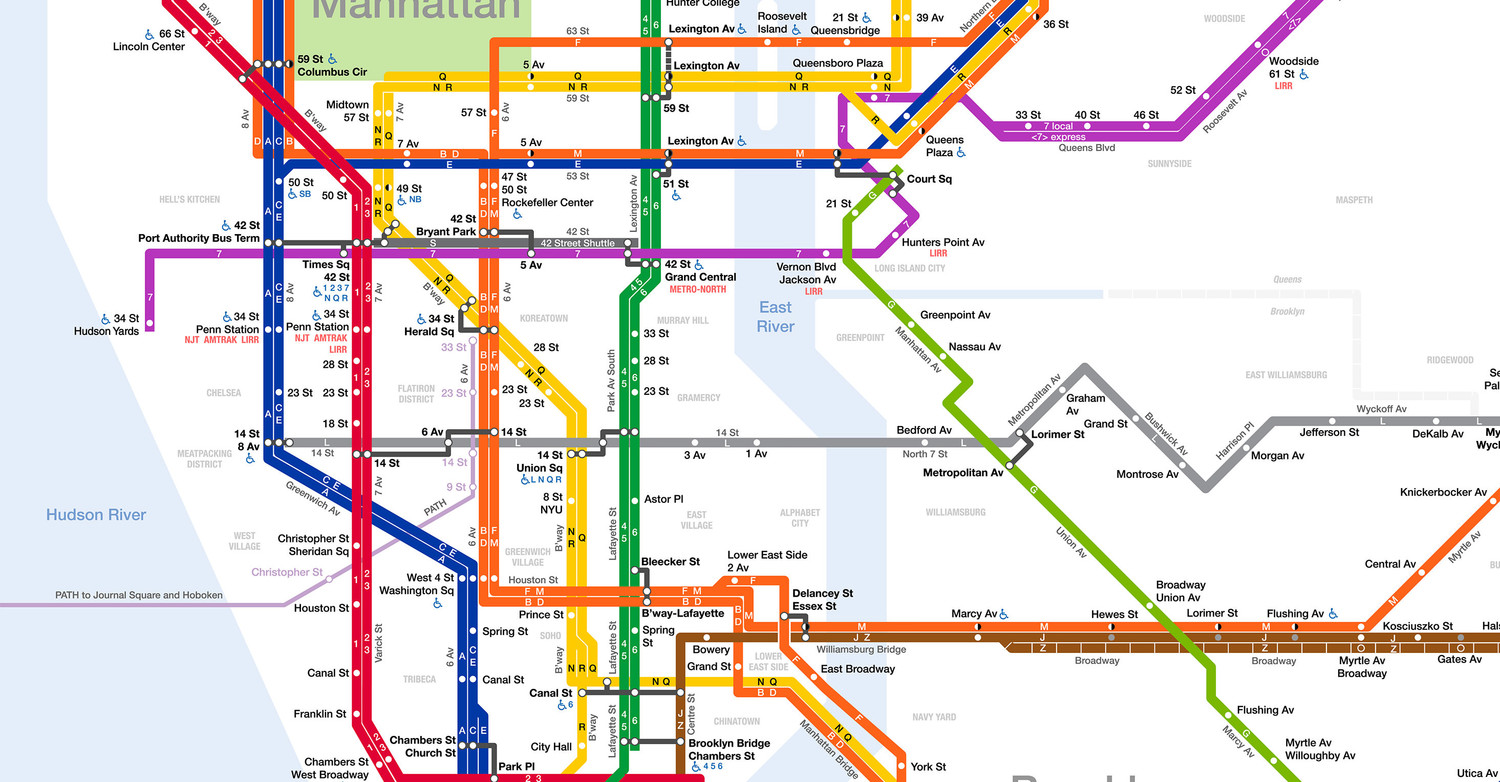 Subway Map From 14th To Chambers.Here S A Much Better Nyc Mta Subway Map Made By Jake Berman