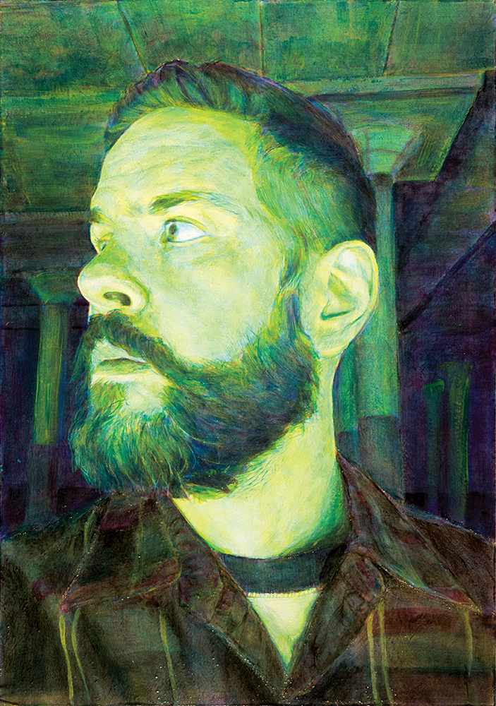 Standing Near a Flavin Installation (Self Portrait) 2016, Acrylic on Panel, 20 x 14 inches.