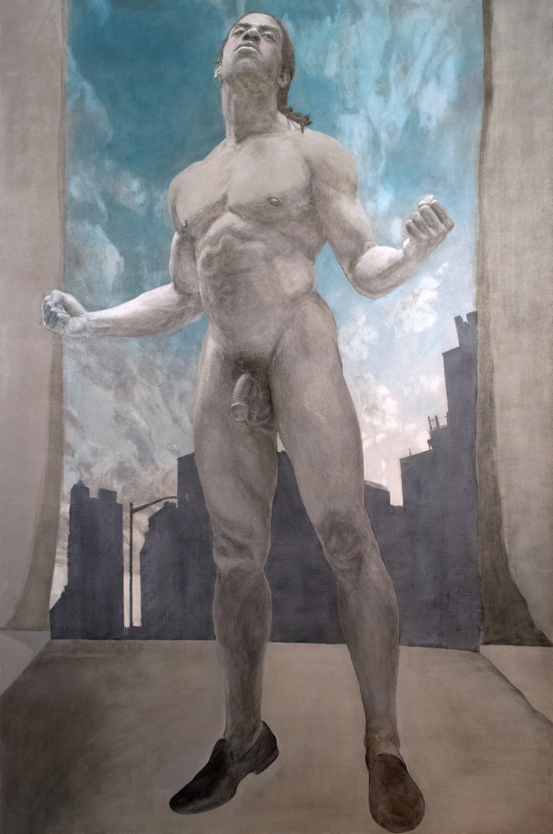 Étude Masculine Américaine , 2017, Acrylic on Canvas, 71 x 47 inches.