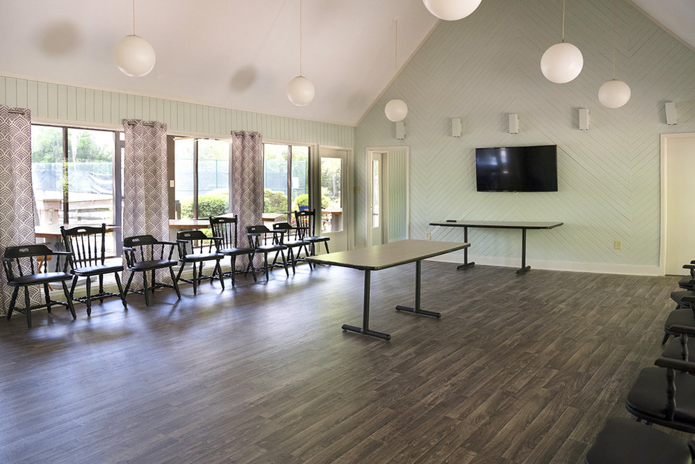 "Large party room with wide-screen ""smart"" TV, public Wi-Fi"