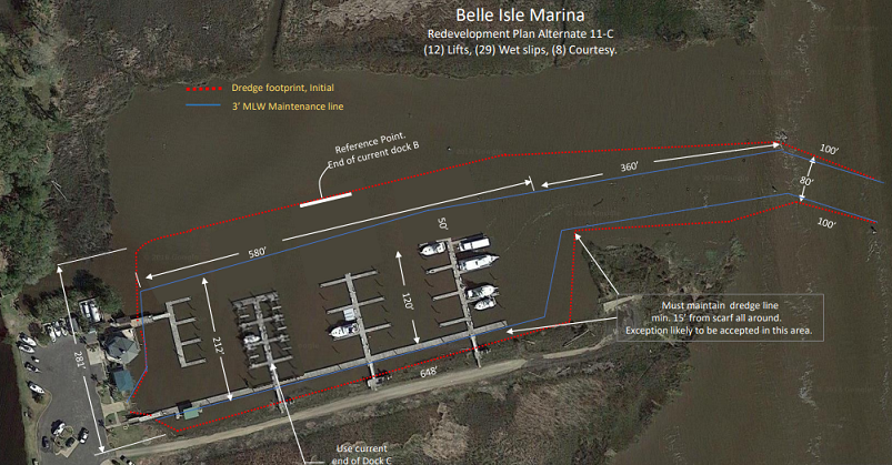Red line indicates the 2018-19 dredge footprint and conceptual configuration of a reduced marina configuration.