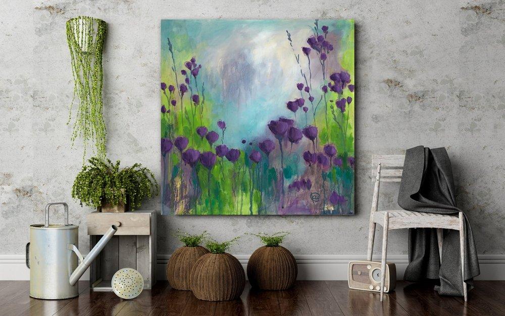 Kellee Wynne Studios Our Song abstract floral acrylic painting insitu purple flowers.jpg