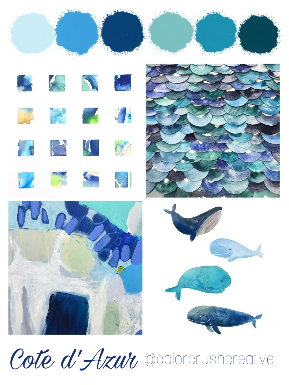 Color Crush Creative Color palette 12: Cote d'Azur with Kellee Wynne Studios  Image credit:  @meldoty.art ,  @inkandindigo ,  @claire_desjardains_art  &  @tinavandijkart