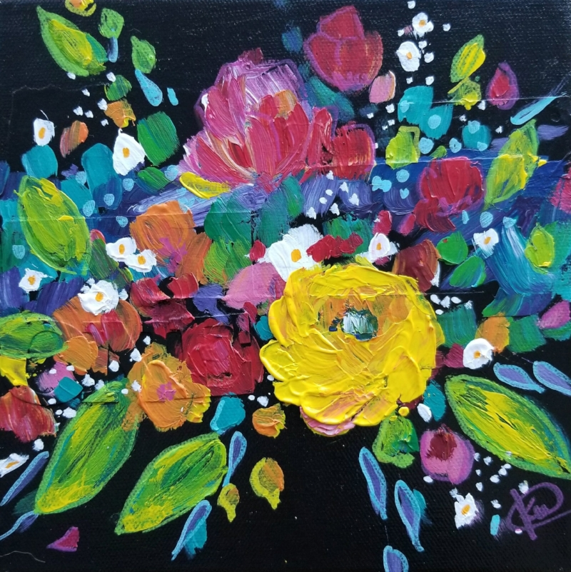 """One Marigold"" by Kellee Wynne Conrad, mixed media and acrylic paint on canvas using CYM color Theory: Cyan, Yellow and Magenta."