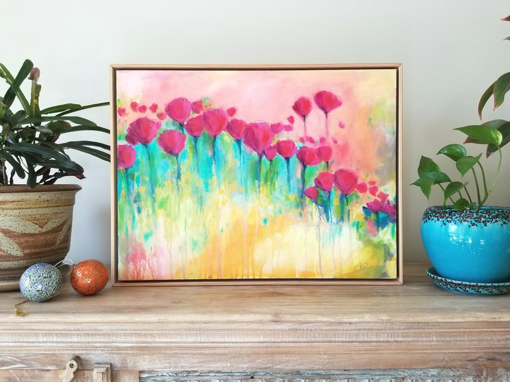 Kellee Wynne Conrad original acrylic painting abstract floral Garden Party set.jpg