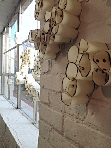 Fungus Colony installation | waxed cloth | Shannon Newby