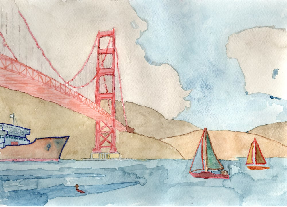 ​Golden Gate Bridge with Sail Boats