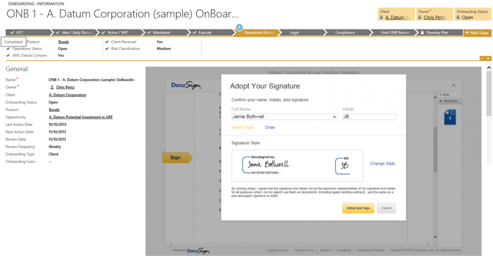 Dynamics CRM Process Flow and DocuSign(tm) Integration