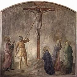 キリストと聖ロンギヌス - フラ・アンジェリコのフレスコ画(15世紀)