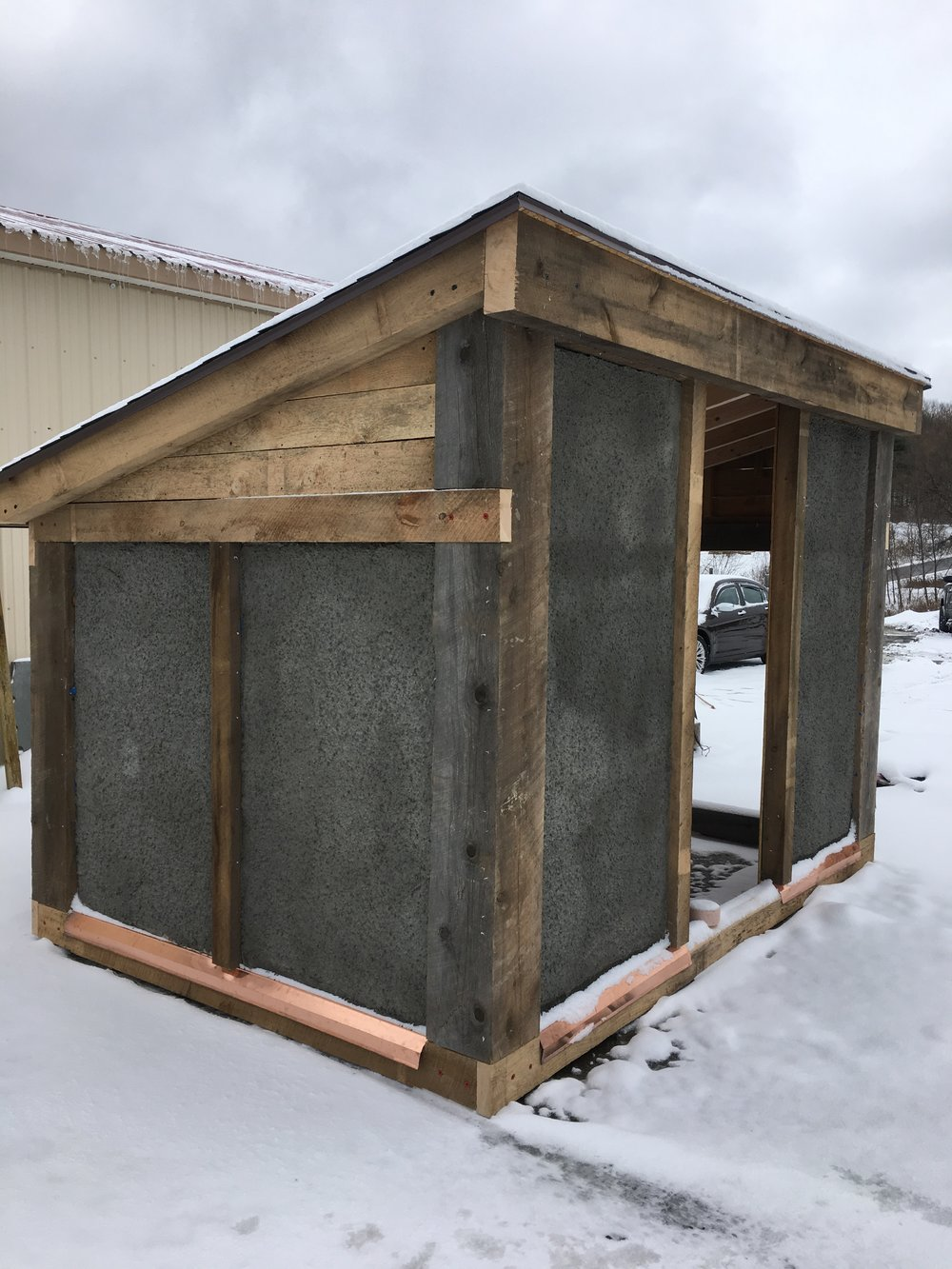 Stucco shed