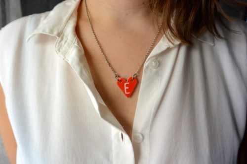 Heart Shaped Porcelain Necklace [$15] by way of LaceWoodStone