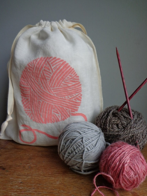 Organic Linen Knitting Bag [$12] by way of Madder Root