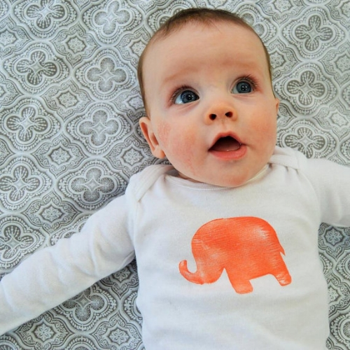 Block Printed Onesie [$18] by way of NikLinDesigns