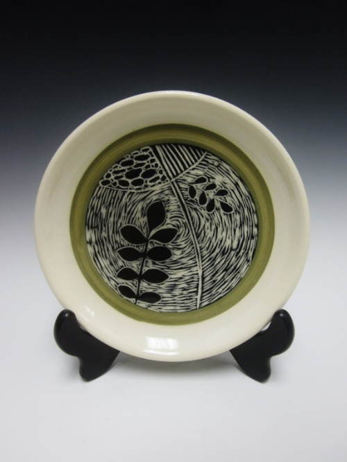 Black + Green Carved Plate [$38] by way of RMVCeramics