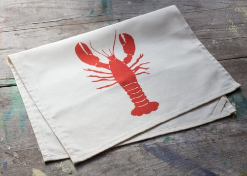 Hand Printed Lobster Tea Towel [$16] by way of Morris + Essex
