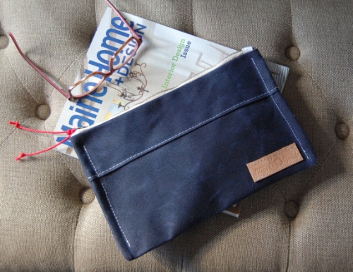 Navy Wax Canvas Clutch [$35] by way of Maine Bags and Goods