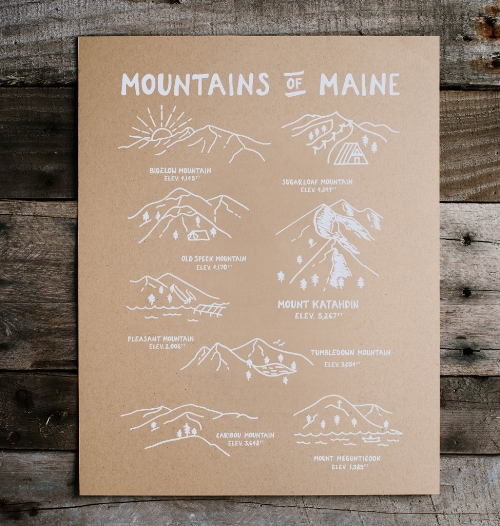 Mountains of Maine Print [$15] by way of Hills & Trails
