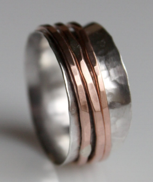 Silver and Copper Spinner Ring [$60] by way of Maggi Blue: Magpie Creative