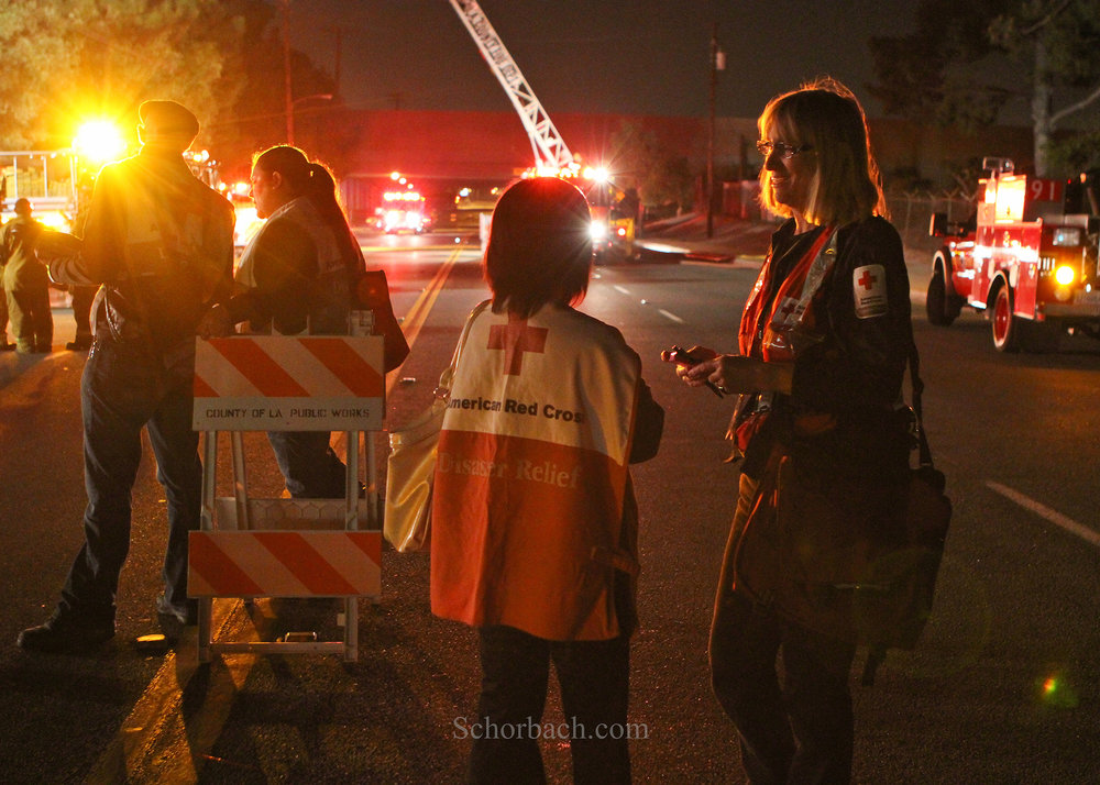 St. John Vianney Catholic Church. April 16, 2011:   Red Cross volunteers respond to the   fire that destroyed the church by providing  canteen services to the fire department during the very early hours of the morning. I post this picture in honor of Doris Beery, American Red Cross Disaster Volunteer, who was killed along with her husband, in a car accident on October 11, 2016. She was a good friend and a dedicated and long time Red Cross volunteer.